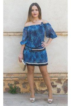 Vestido CONCEPTO PRIVEE Leopardo Azul
