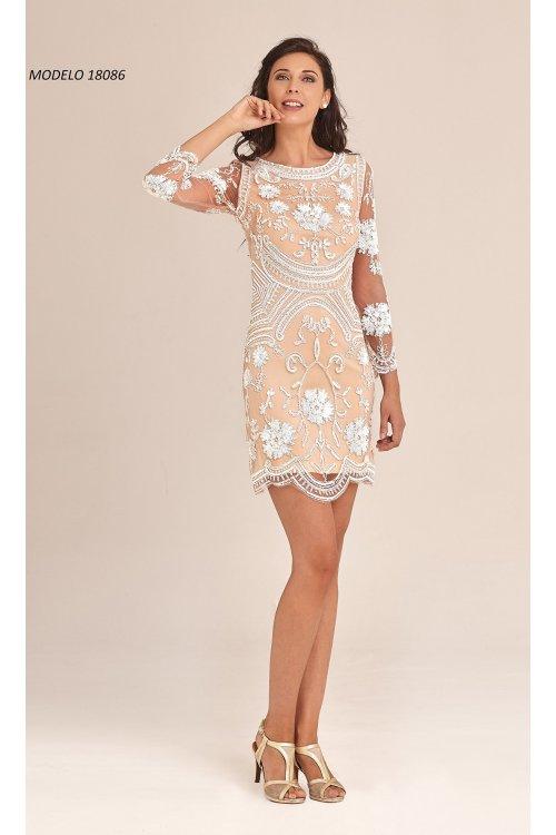 Vestido Almagemela Pedreria Blanco