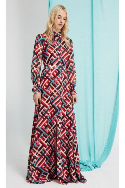Vestido DOLORES PROMESAS HEAVEN Camisero Print Geométrico