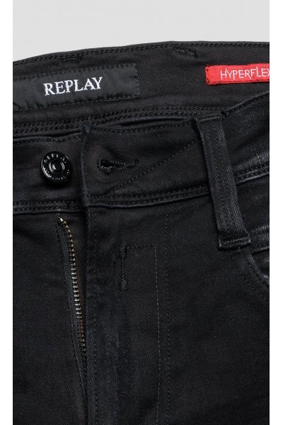 Pantalones REPLAY Slim Hyperflex Anbass Broken & Repair Negro