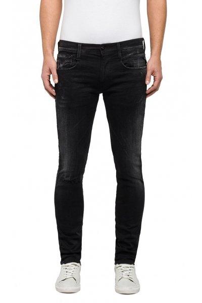 Pantalones REPLAY Slim Hyperflex Anbass Broken & Repair Negro