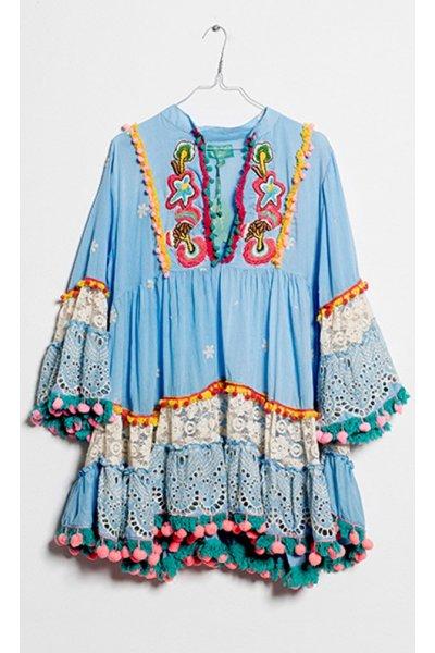 Mini Vestido ANTICA SARTORIA Combi Bordados