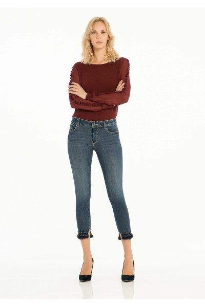 Jeans FRACOMINA Bajo Pluma y Strass FR18FPJHAUDRY