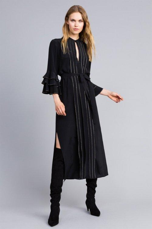 Vestido TWINSET Negro Strass TA8233