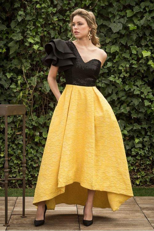 Vestido NURIBEL COUTURE Bicolor Vuelo Volante 12932