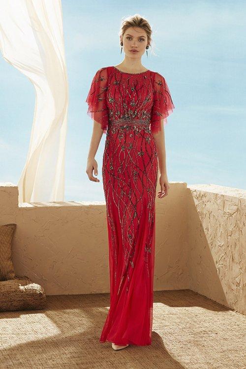 Vestido MARFIL Largo Pedrería Rojo 3J2C8