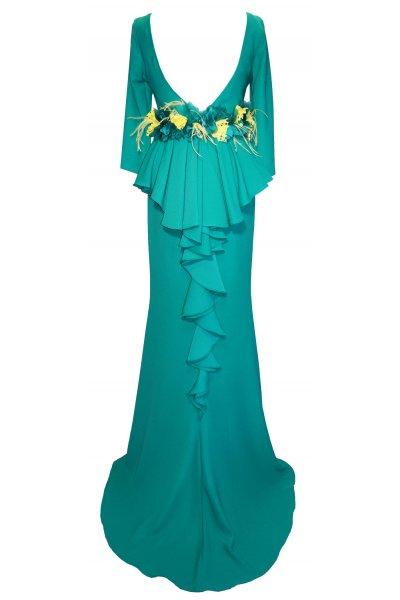 Vestido CARLA RUIZ Largo Espalda Volantes 95707