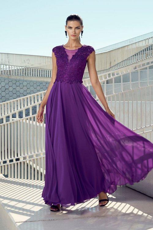 Vestido CARLA RUIZ Gasa Cuerpo Encaje 95469