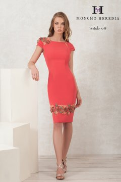 Vestido MONCHO HEREDIA Coral Bordado 6911018