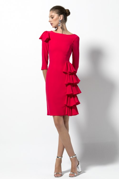 Vestido EVASSÉ Rojo Volantes 619.08092