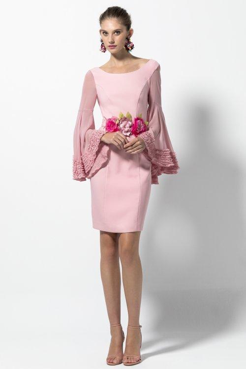 Vestido Evassé Rosa Manga Acampanada