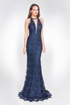 Vestido X&M Largo Azul Marino Guipur AC1016
