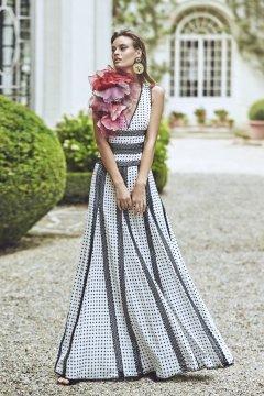 Vestido MATILDE CANO Largo Lunares Flores 6230