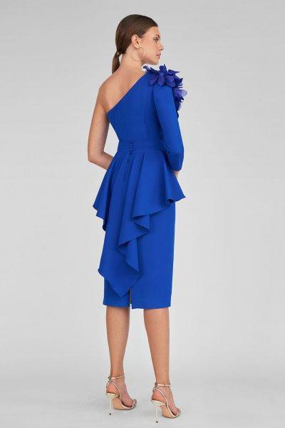 Vestido MARIA LAGO Azul Klein Peplum ITATI