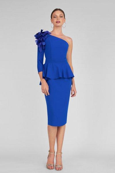 Vestido MARIA LAGO Azul Klein Peplum