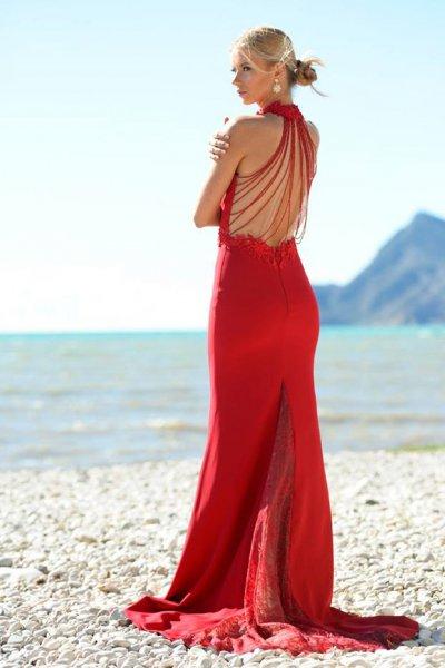 Vestido X&M Largo Detalles Guipur AC1063