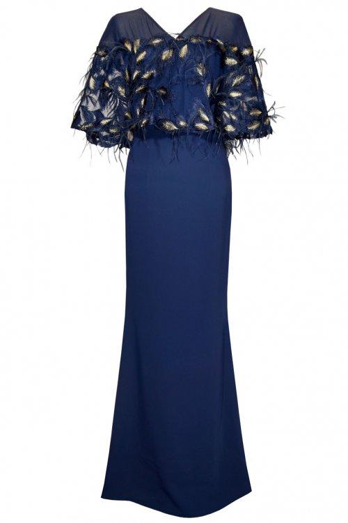 Vestido CARLA RUIZ Largo Capelina Plumas 95618