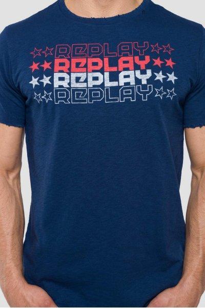 Camiseta REPLAY Logo Estrellas Azul M3740 .000.22336