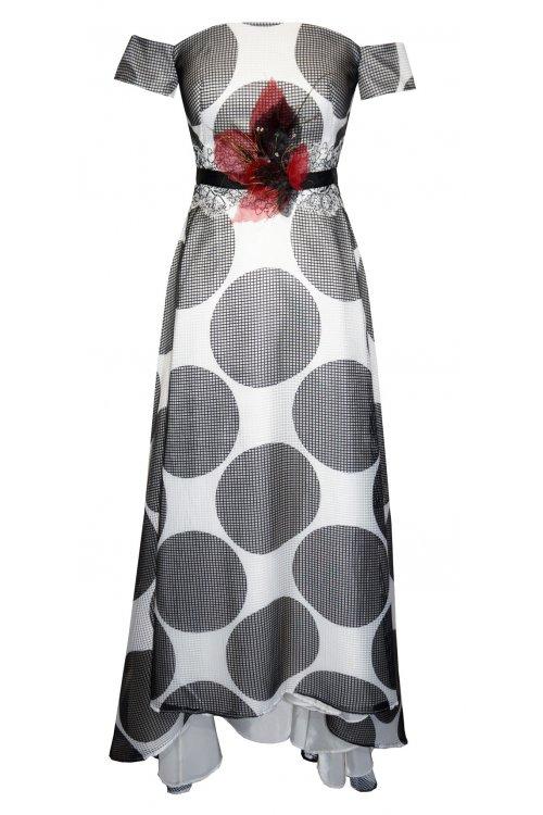 Vestido CARLA RUIZ Asimétrico Lunares 95585