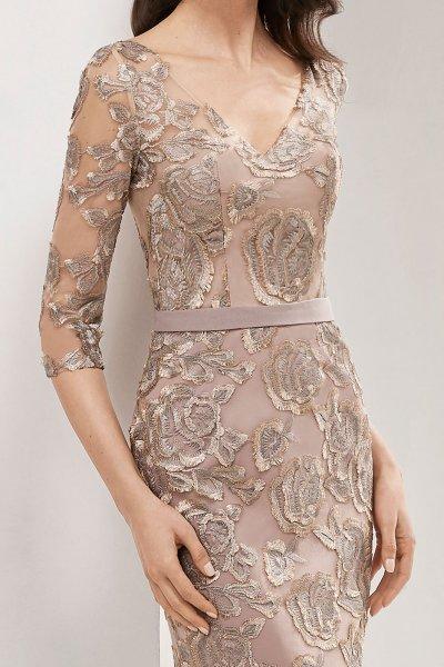 Vestido MARFIL Visón Rosas Bordadas 3G136