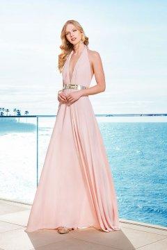 Vestido fiesta rosa palo complementos