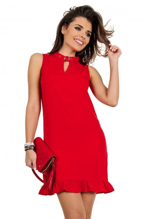 Vestido GUESS Rojo Volante