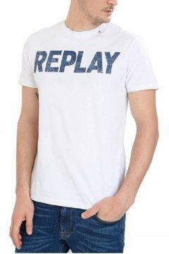 Camiseta REPLAY Logo Blanca M3369