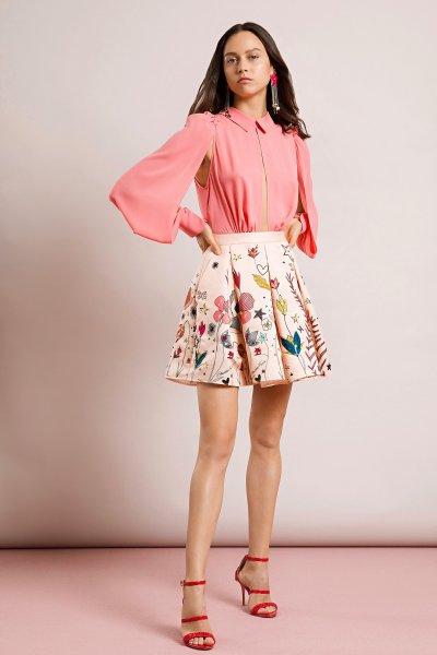 Vestido ELISABETTA FRANCHI Falda Estampada Y Bordada Flores AB67991E2