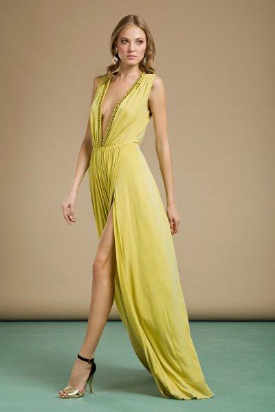 Vestido ELISABETTA FRANCHI Aguacate Sin Mangas Cadenas AB79992E2