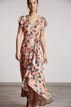 Vestido ALBA CONDE Salmón Estampado Floral 2416-431