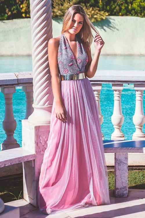 Vestido MONCHO PETIT Largo Combinado 5038