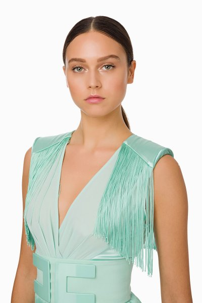Vestido ELISABETTA FRANCHI Flecos AB82492E2