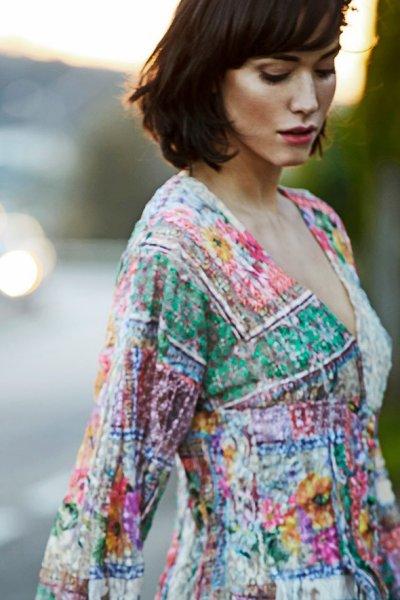 Vestido/ Batin IMILOA Estampado Transparencias Dalia
