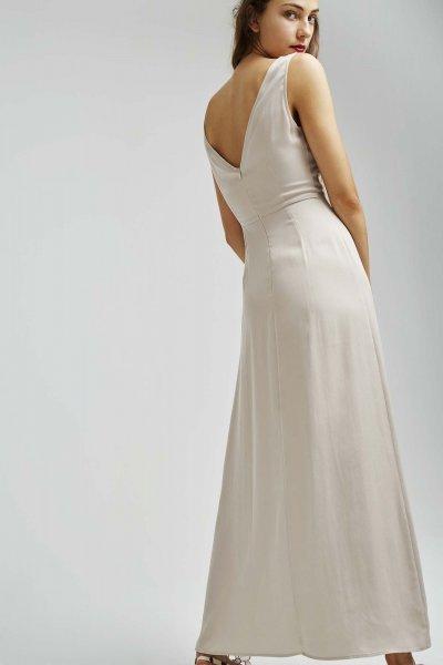 Vestido DOLORES PROMESAS Beige Pliegue 107741