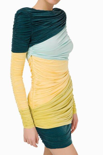 Vestido ELISABETTA FRANCHI Ceñido Drapeado Multicolor AB82893E2