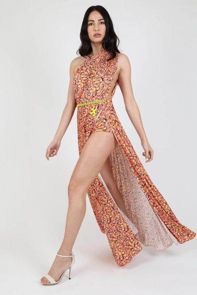 Vestido ELISABETTA FRANCHI Largo Estampado Flamingo AB84393E2