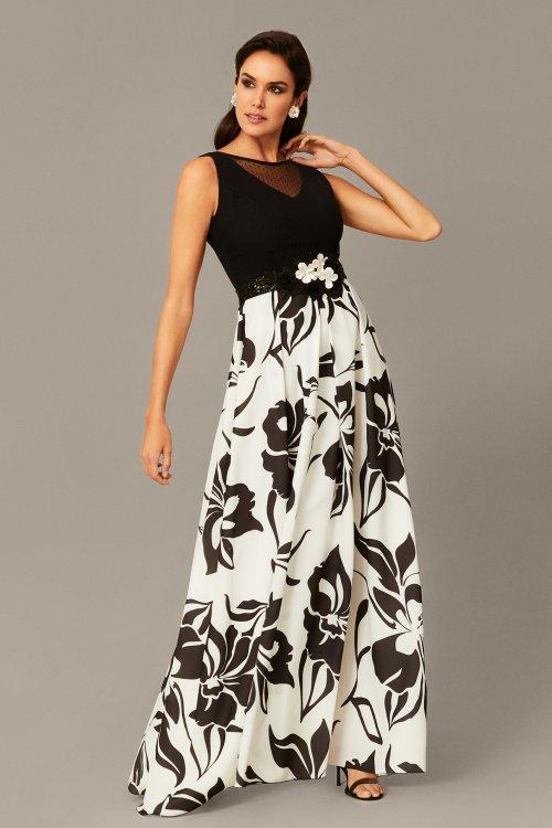Vestido Nati Jimenez Largo Combinado Estampado