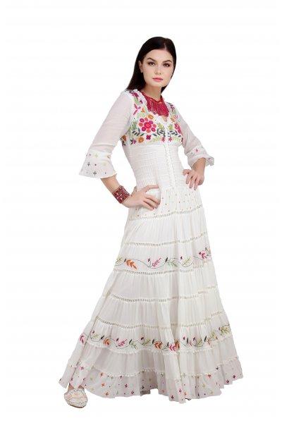 Vestido IBBAN Largo Bordado Blanco NOA LONG DRESS