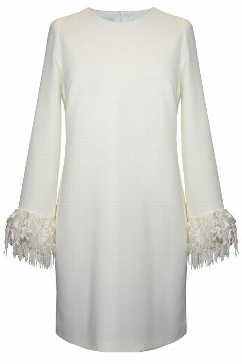 Vestido CARLA RUIZ Blanco Plumas 96033
