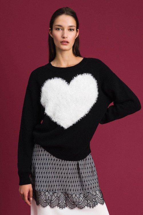 Maxi Cardigan TWINSET Negro Corazón 192TP3320