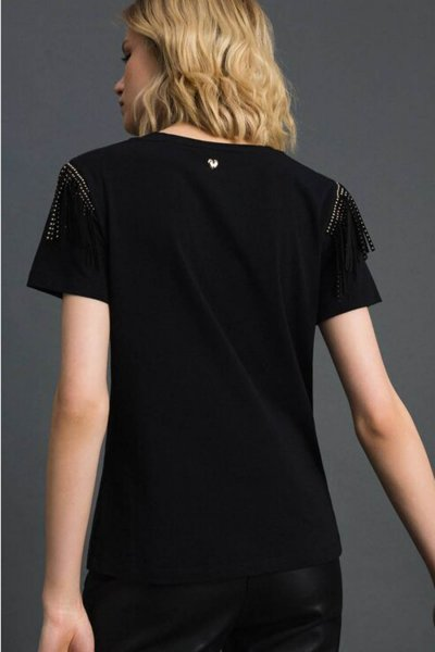 Camiseta Twinset Tachuelas y Flecos 192MP2450