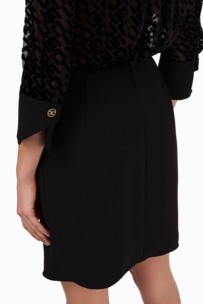 Vestido ELISABETTA FRANCHI Negro Logotipo Devorè AB02196E2