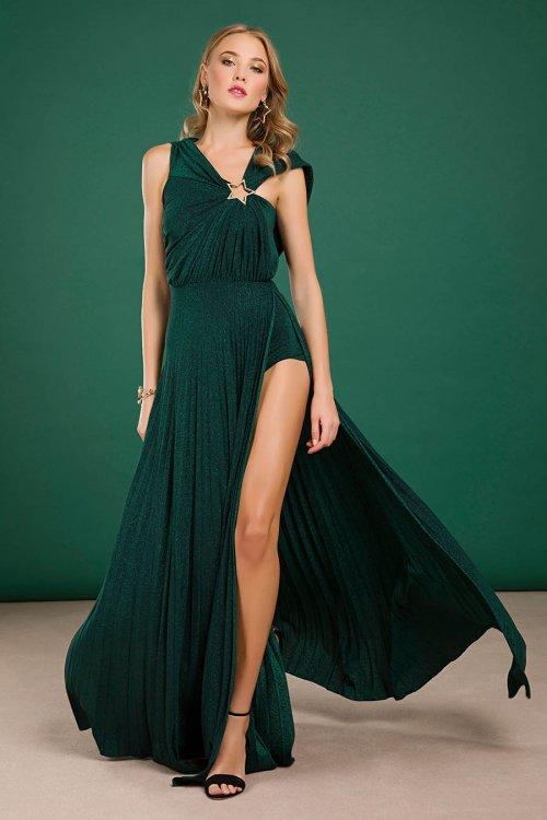 Vestido Elisabetta Franchi Largo Plisado Verde Botella