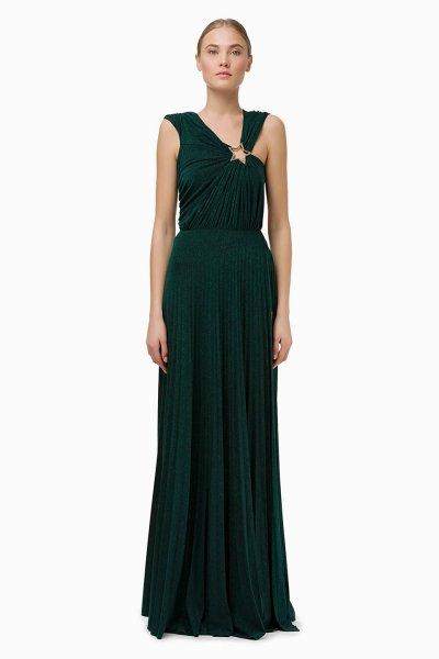 Vestido ELISABETTA FRANCHI Largo Plisado Verde Botella AB91096E2