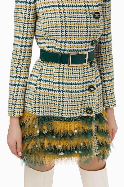 Vestido ELISABETTA FRANCHI Con Cinturón y Bordados AB92096E2