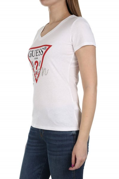 Camiseta GUESS Básica Icon Strass Blanca W92I59K75R0