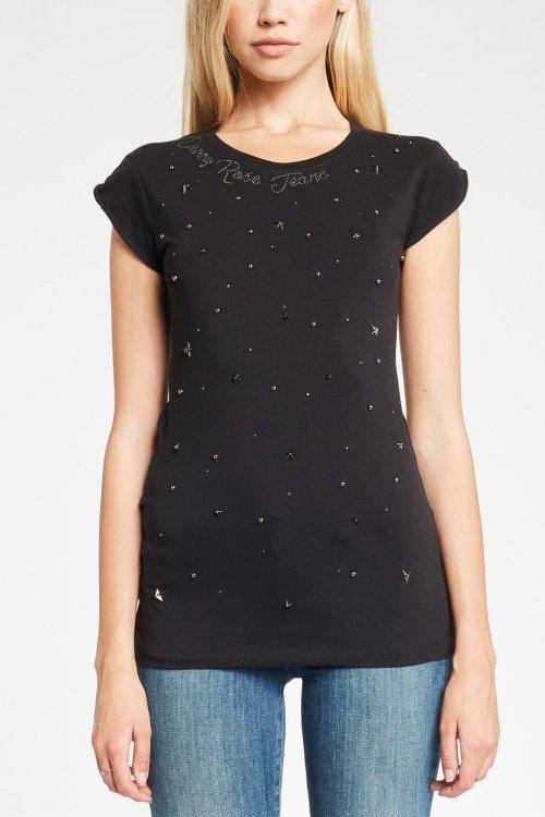 Camiseta DENNY ROSE Negra Aplicaciones 921ND64032