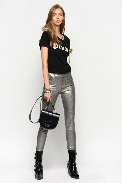 Camiseta PINKO Negra Lazo 1B147ZY5BD