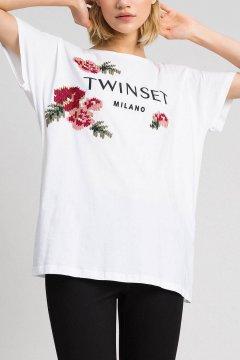Camiseta TWINSET Con Bordados Florales De Hilo 192TP2580