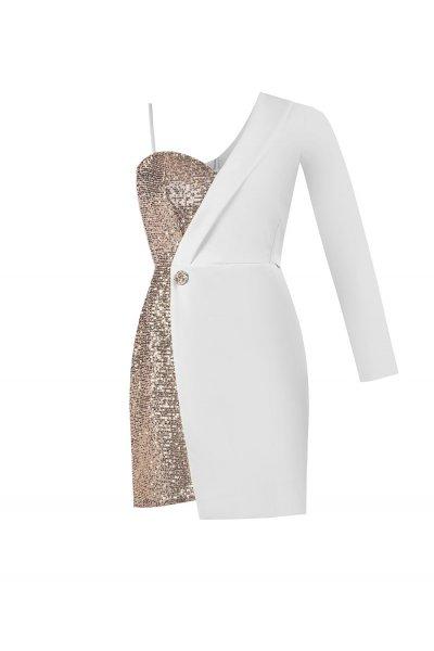 Mini Vestido RINASCIMENTO Asimétrico Paillettes CFC0094310003